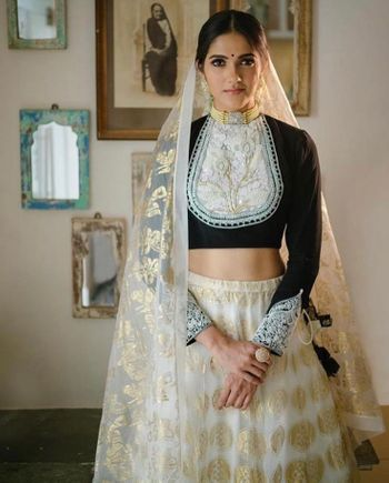 A simple black and white lehenga for a small function at home.