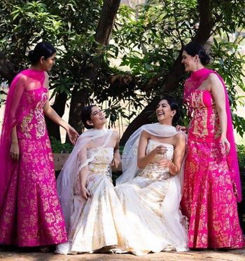 Pretty in pink and white outfits from house of masaba! Perfect for a sister or bff of the bride