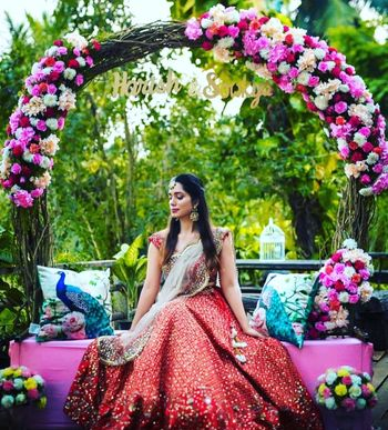 bridal portrait on mehendi sitting on personalised mehendi seat