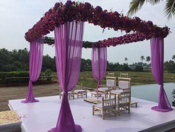 Purple Drapes Mandap with Rose Decor