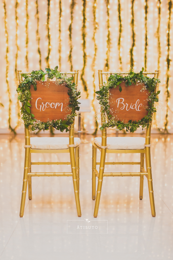 Unique Bride and Groom Chairs!