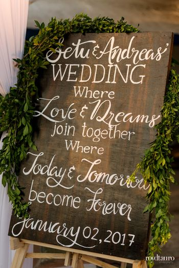 Personalised chalkboard message decor for entrance