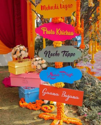 Signage at a mehendi function