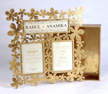 Photo of gold frame invitation