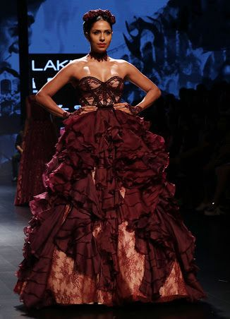 Strapless oxblood evening gown with ruffles