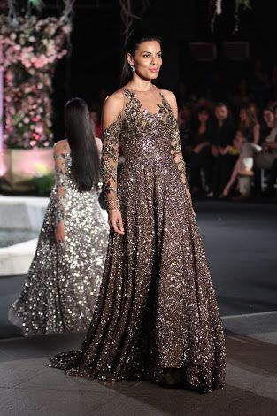 Dark grey sequin evening gown with cold shoulder