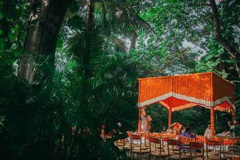 Beautiful genda phool mandap decor