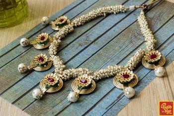 Pearl String Ruby Meenakari Necklace