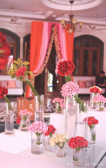 Table settings using fresh roses!