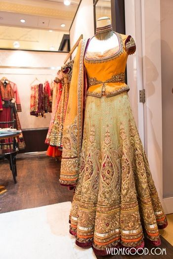 yellow and grey Tarun tahiliani lehenga at the Vogue Wedding show