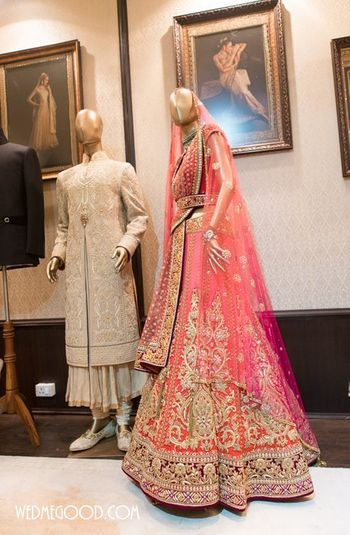 Coral tarun tahiliani lehenga at the vogue wedding show