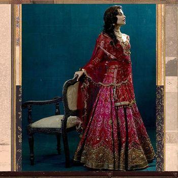 raspberry pink bridal lehenga
