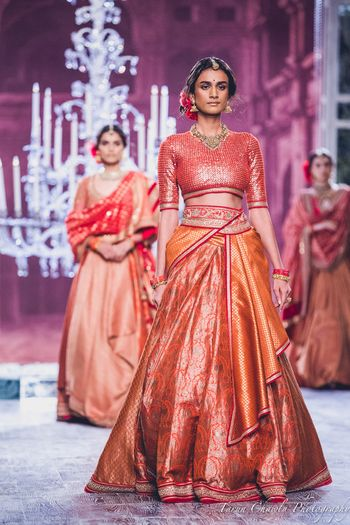 Tahiliani Benarasi Red and Yellow Light Lehenga