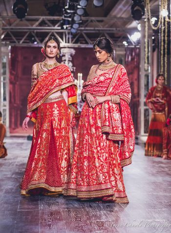 Tahiliani Red Lehenga with Gold Zari Work
