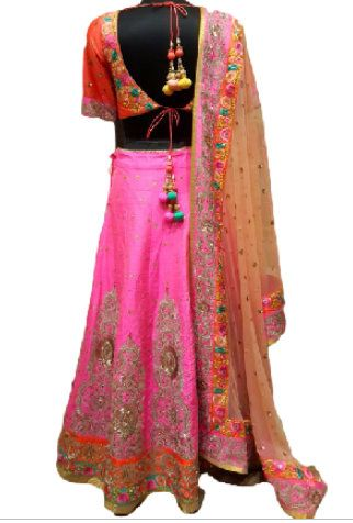 Photo of pink and orange lehenga