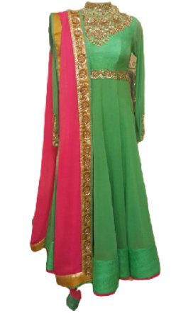 jade green anarkali
