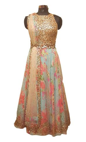 Photo of floral printed pastel blue  anarkali