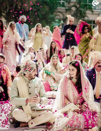 Couple shot for pastel morning wedding