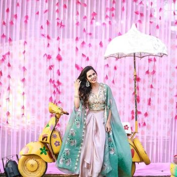 Mehndi outfit with cape and dhoti skirt
