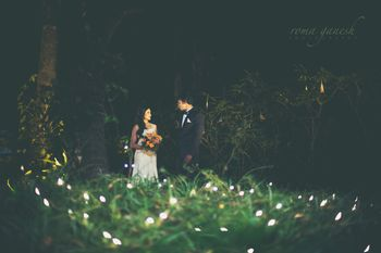 Photo of romantic fairy lit pre-wedding shoot