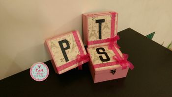 Photo of Pink and yellow will you be my bridesmaid boxes with monograms