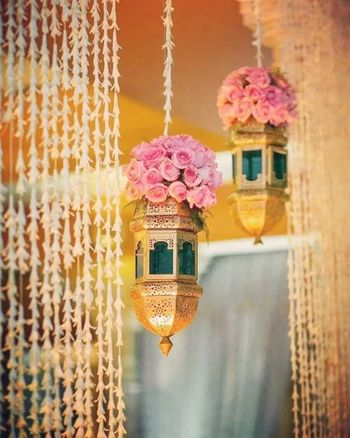 Hanging floral decorations look the prettiest.