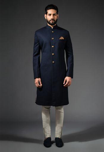 blue and gold sherwani