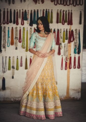 mint blue and yellow lehenga