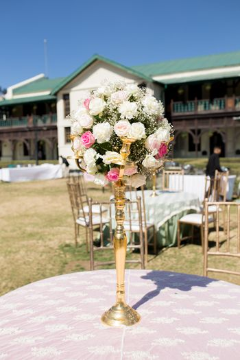 Gold Candelabras with Floral Bouquet Decor