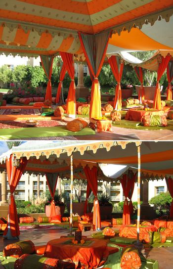 orange and green tenting