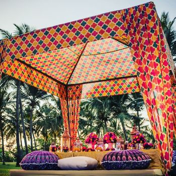 Printed mehendi tent and seating