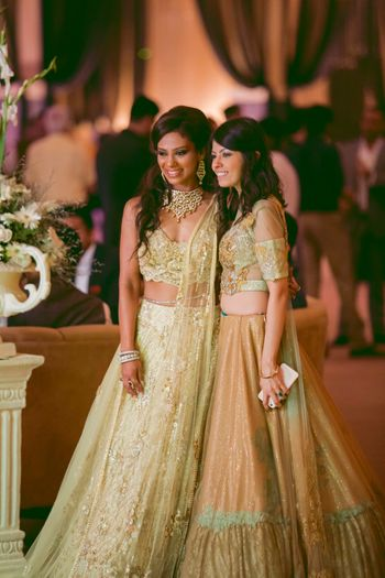sister of the bride pastel cold shoulder lehengas