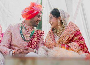 happy matching couple shot on wedding day