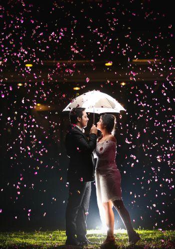 Photo of rose petals shower pre-wedding shoot