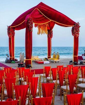 A simple yet stunning mandap decor setup by the sea side