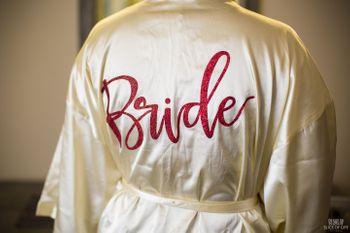 Silk bridal robe with bride written