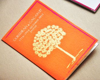 orange tree of life wedding card