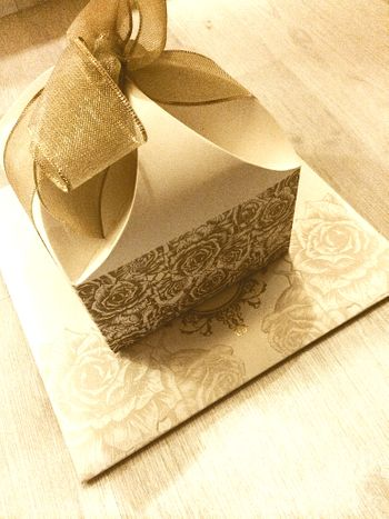 elegant gold and white damask cards with box and bow