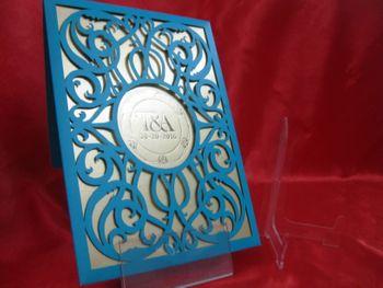 Blue laser cut wedding invitation card