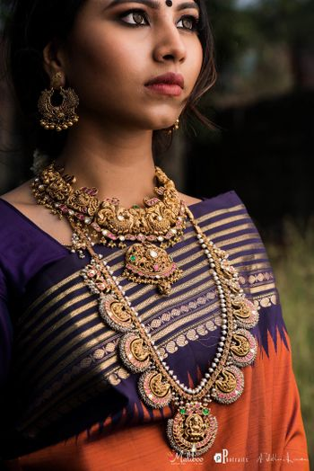 Antique finish layered temple jewellery necklace