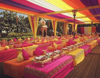 bright colored mehendi decor