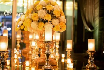Floral vases and candles decor