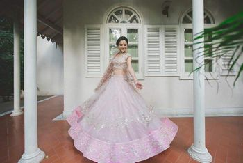 Baby Pink and Silver Twilring Lehenga