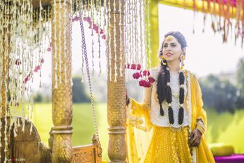 Bridal mehendi portrait with yellow outfit