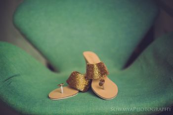 Flat gold bridal shoes