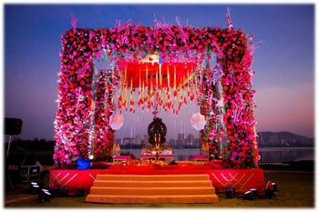 Pink Floral Mandap with Red Floral Chandelier