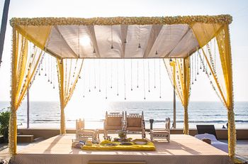 Yellow Theme Open Air Mandap Next to Beach