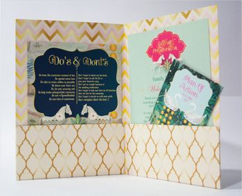 Unique blue white and gold wedding card Indian