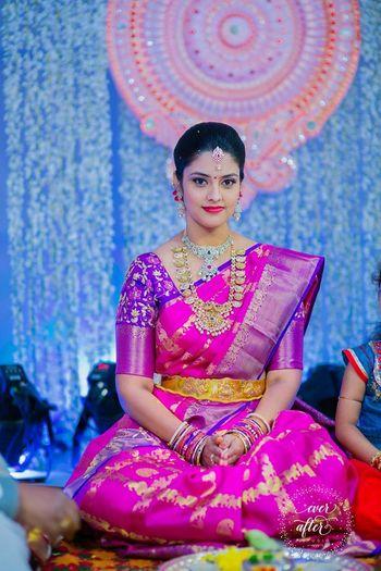 Hot Pink and Purple Kanjivaram Sari