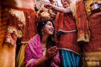 Photo of bride on haldi